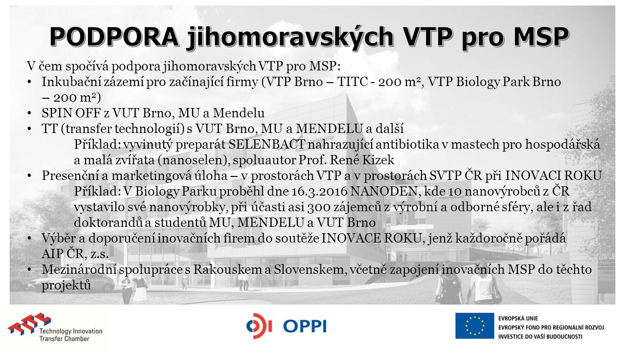 V čem spočívá podpora jihomoravských VTP pro MSP: Inkubační zázemí pro začínající firmy (VTP Brno – TITC - 200 m 2, VTP Biology Park Brno – 200 m 2 )