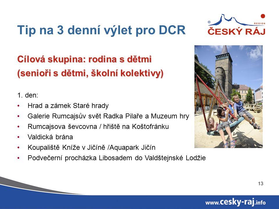 13 Tip na 3 denní výlet pro DCR Cílová skupina: rodina s dětmi (senioři s dětmi, školní kolektivy) 1.