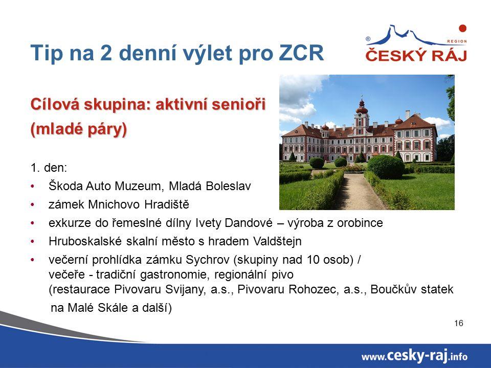16 Tip na 2 denní výlet pro ZCR Cílová skupina: aktivní senioři (mladé páry) 1.