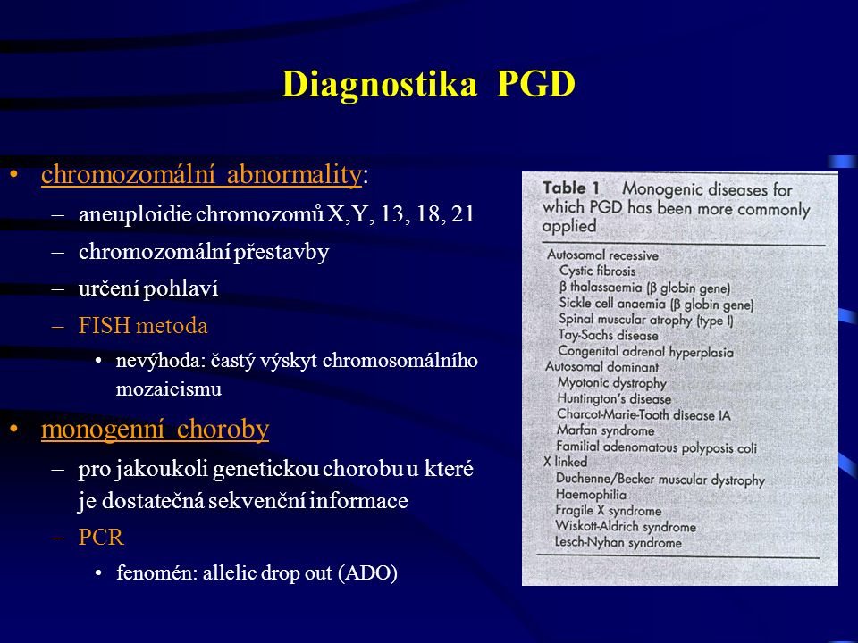 Diagnostika PGD chromozomální abnormality: –aneuploidie chromozomů X,Y, 13, 18, 21 –chromozomální přestavby –určení pohlaví –FISH metoda nevýhoda: častý výskyt chromosomálního mozaicismu monogenní choroby –pro jakoukoli genetickou chorobu u které je dostatečná sekvenční informace –PCR fenomén: allelic drop out (ADO)