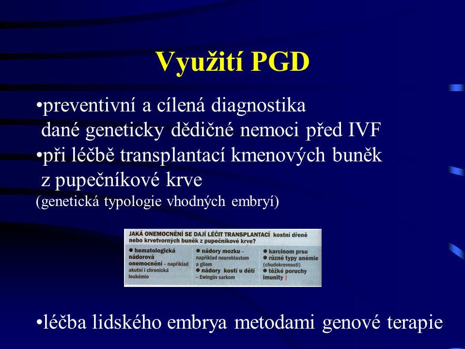Využití PGD preventivní a cílená diagnostika dané geneticky dědičné nemoci před IVF při léčbě transplantací kmenových buněk z pupečníkové krve (genetická typologie vhodných embryí) léčba lidského embrya metodami genové terapie