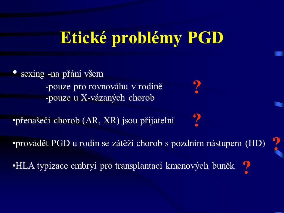 Etické problémy PGD sexing -na přání všem -pouze pro rovnováhu v rodině -pouze u X-vázaných chorob přenašeči chorob (AR, XR) jsou přijatelní provádět PGD u rodin se zátěží chorob s pozdním nástupem (HD) HLA typizace embryí pro transplantaci kmenových buněk .