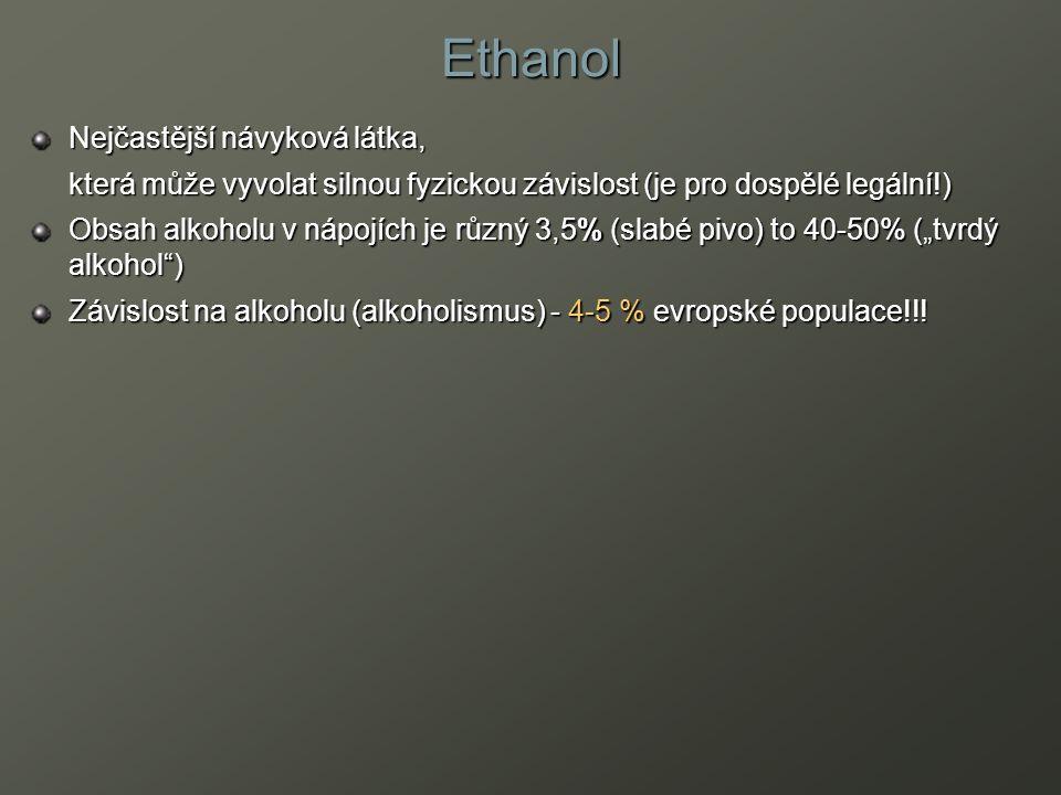 Ethanol Nejčastější návyková látka, která může vyvolat silnou fyzickou závislost (je pro dospělé legální!) Obsah alkoholu v nápojích je různý 3,5% (sl