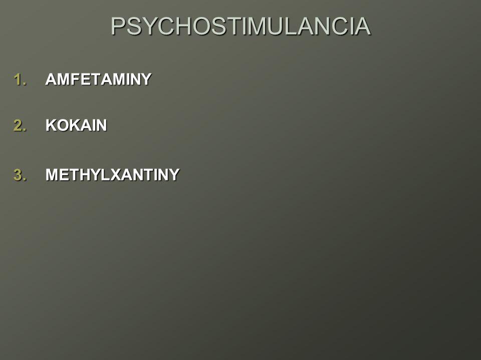 PSYCHOSTIMULANCIA 1.AMFETAMINY 2.KOKAIN 3.METHYLXANTINY
