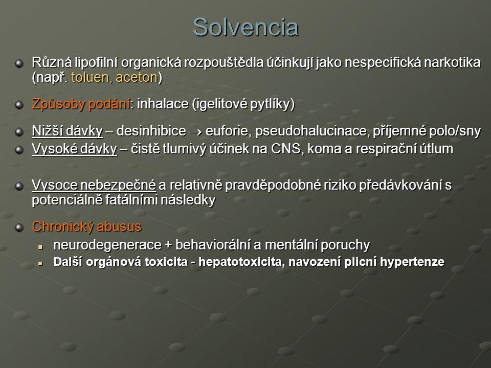 Solvencia Různá lipofilní organická rozpouštědla účinkují jako nespecifická narkotika (např. toluen, aceton) Způsoby podání: inhalace (igelitové pytlí