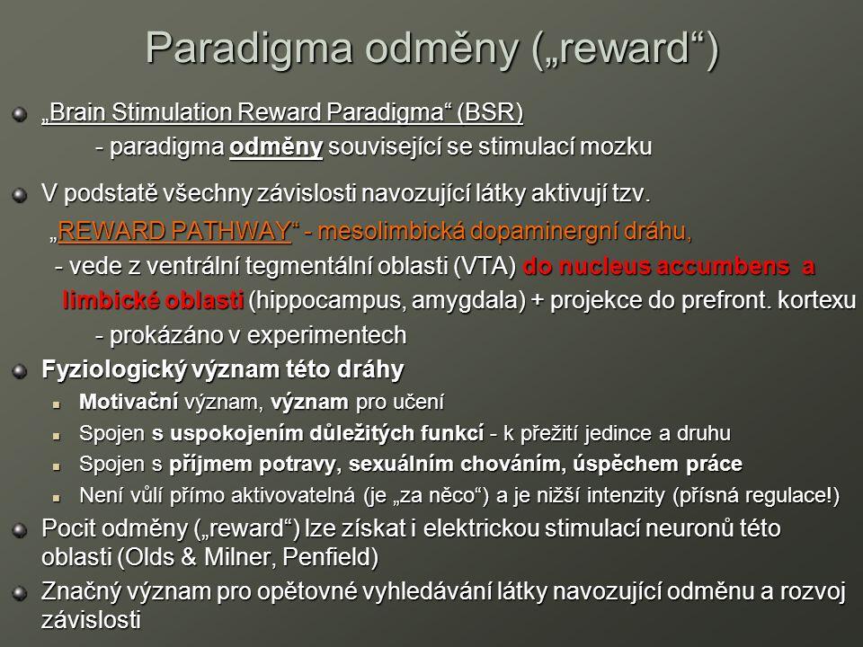 "Paradigma odměny (""reward"") ""Brain Stimulation Reward Paradigma"" (BSR) - paradigma odměny související se stimulací mozku - paradigma odměny souvisejíc"