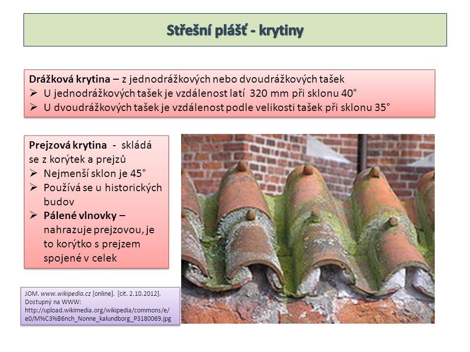 Prejzová krytina - skládá se z korýtek a prejzů  Nejmenší sklon je 45°  Používá se u historických budov  Pálené vlnovky – nahrazuje prejzovou, je to korýtko s prejzem spojené v celek Prejzová krytina - skládá se z korýtek a prejzů  Nejmenší sklon je 45°  Používá se u historických budov  Pálené vlnovky – nahrazuje prejzovou, je to korýtko s prejzem spojené v celek Drážková krytina – z jednodrážkových nebo dvoudrážkových tašek  U jednodrážkových tašek je vzdálenost latí 320 mm při sklonu 40°  U dvoudrážkových tašek je vzdálenost podle velikosti tašek při sklonu 35° Drážková krytina – z jednodrážkových nebo dvoudrážkových tašek  U jednodrážkových tašek je vzdálenost latí 320 mm při sklonu 40°  U dvoudrážkových tašek je vzdálenost podle velikosti tašek při sklonu 35° JOM.