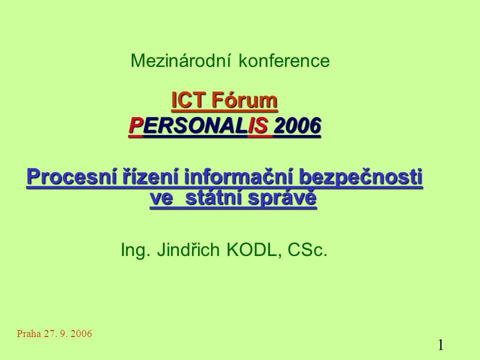Mezinárodní konference ICT Fórum PERSONALIS 2006 Procesní řízení informační bezpečnosti ve státní správě Ing.