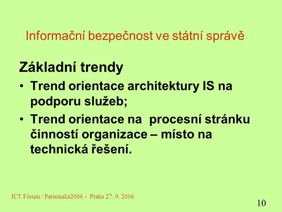Informační bezpečnost ve státní správě Základní trendy Trend orientace architektury IS na podporu služeb; Trend orientace na procesní stránku činností organizace – místo na technická řešení.