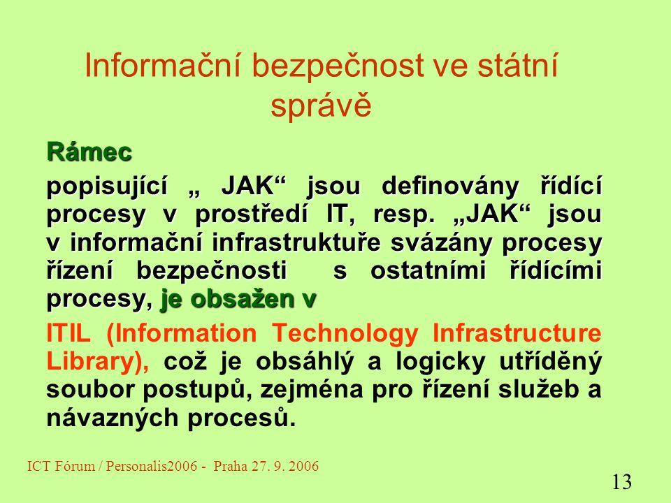 """Informační bezpečnost ve státní správě Rámec popisující """" JAK jsou definovány řídící procesy v prostředí IT, resp."""