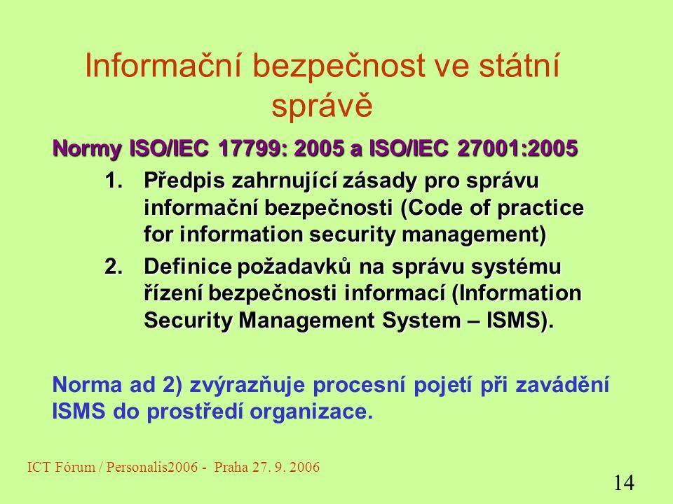 Informační bezpečnost ve státní správě Normy ISO/IEC 17799: 2005 a ISO/IEC 27001:2005 1.Předpis zahrnující zásady pro správu informační bezpečnosti (Code of practice for information security management) 2.Definice požadavků na správu systému řízení bezpečnosti informací (Information Security Management System – ISMS).