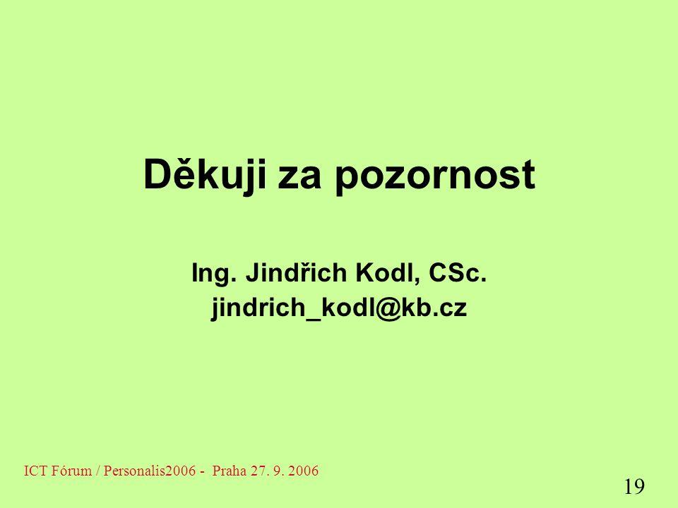 Děkuji za pozornost Ing. Jindřich Kodl, CSc.