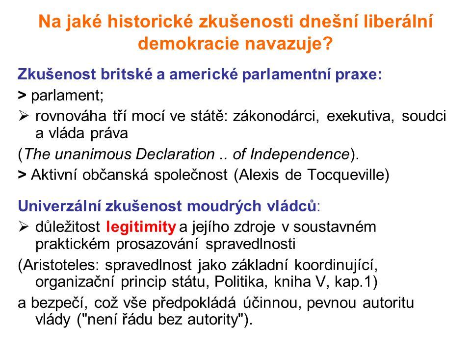 Na jaké historické zkušenosti dnešní liberální demokracie navazuje.