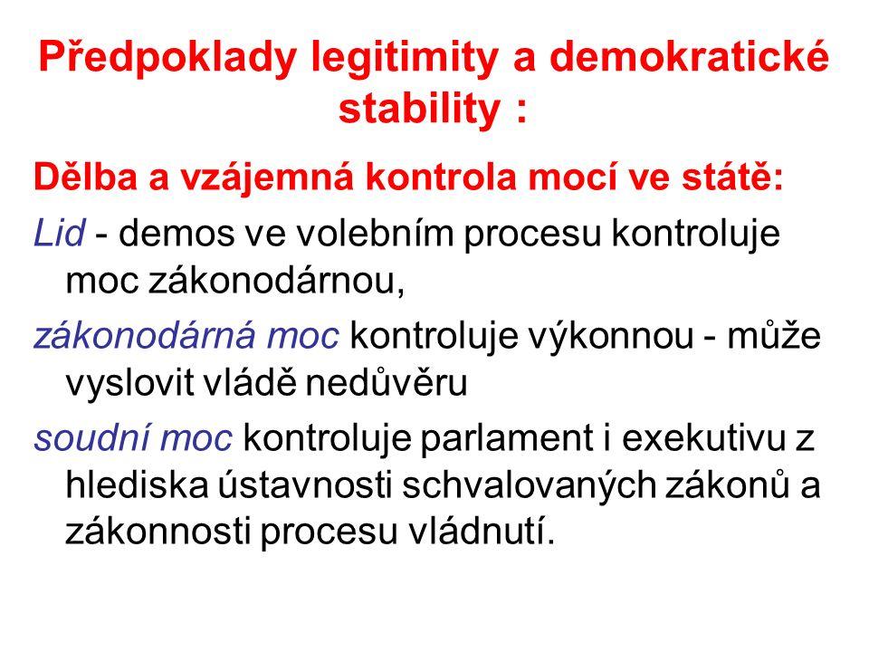 Předpoklady legitimity a demokratické stability : Dělba a vzájemná kontrola mocí ve státě: Lid - demos ve volebním procesu kontroluje moc zákonodárnou, zákonodárná moc kontroluje výkonnou - může vyslovit vládě nedůvěru soudní moc kontroluje parlament i exekutivu z hlediska ústavnosti schvalovaných zákonů a zákonnosti procesu vládnutí.