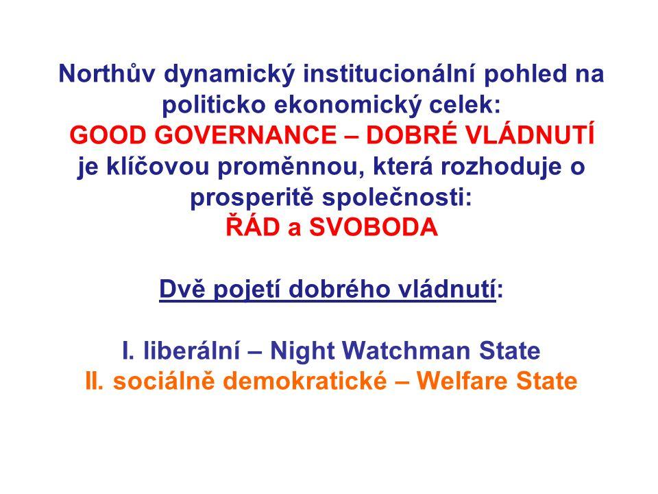 Northův dynamický institucionální pohled na politicko ekonomický celek: GOOD GOVERNANCE – DOBRÉ VLÁDNUTÍ je klíčovou proměnnou, která rozhoduje o prosperitě společnosti: ŘÁD a SVOBODA Dvě pojetí dobrého vládnutí: I.