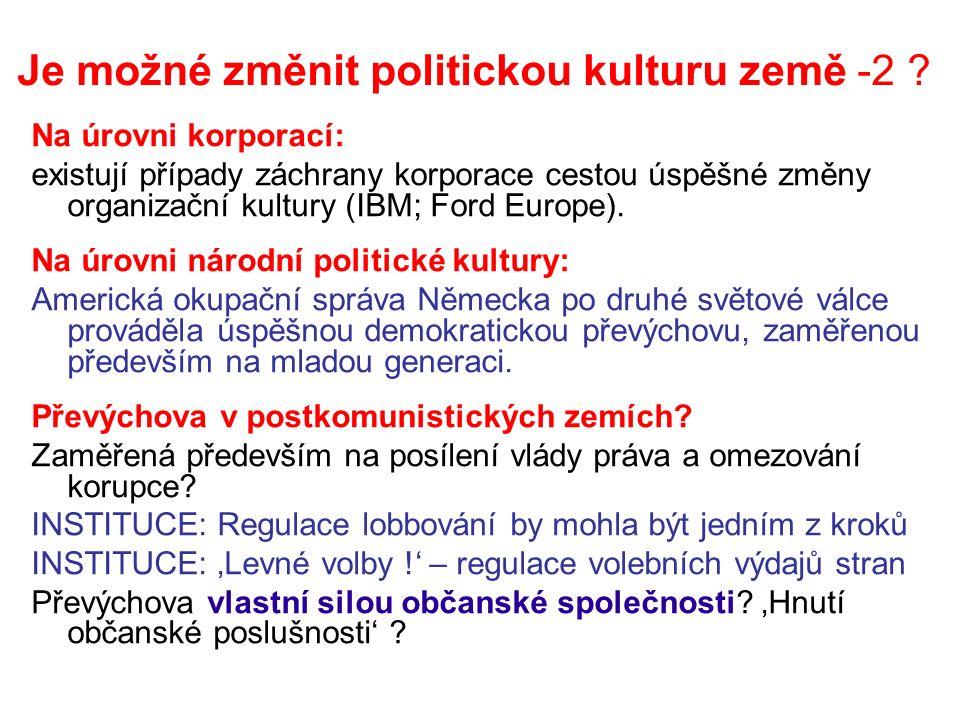 Je možné změnit politickou kulturu země -2 .