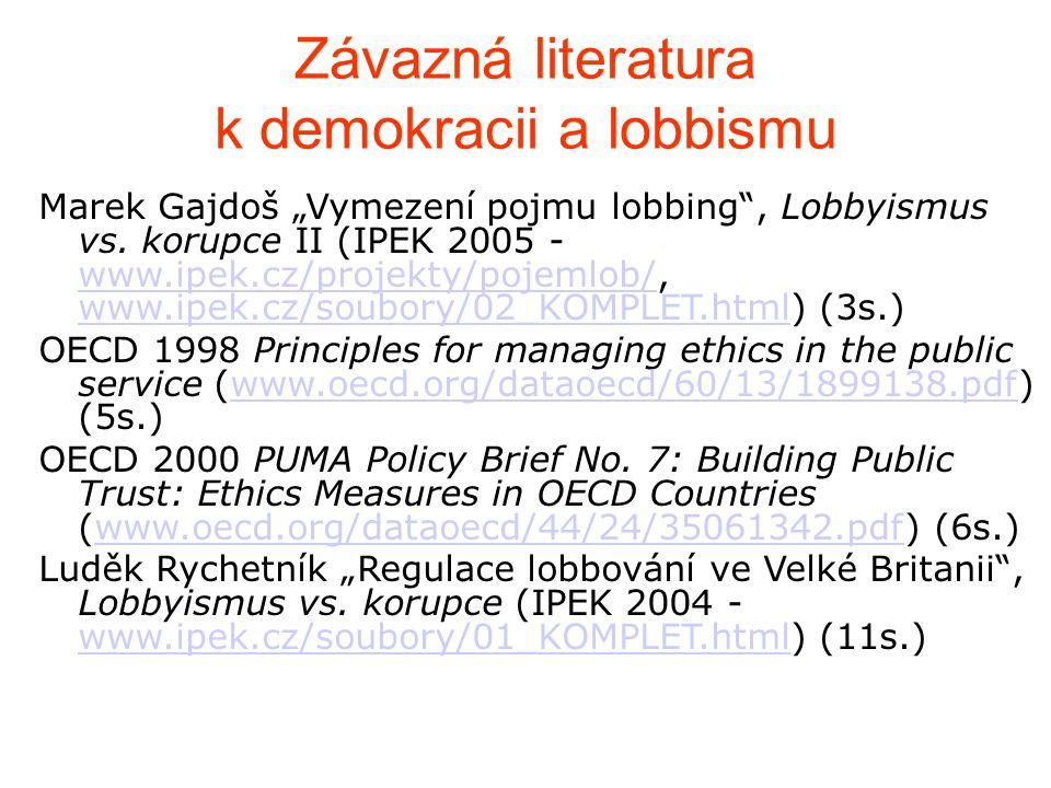 """Závazná literatura k demokracii a lobbismu Marek Gajdoš """"Vymezení pojmu lobbing , Lobbyismus vs."""