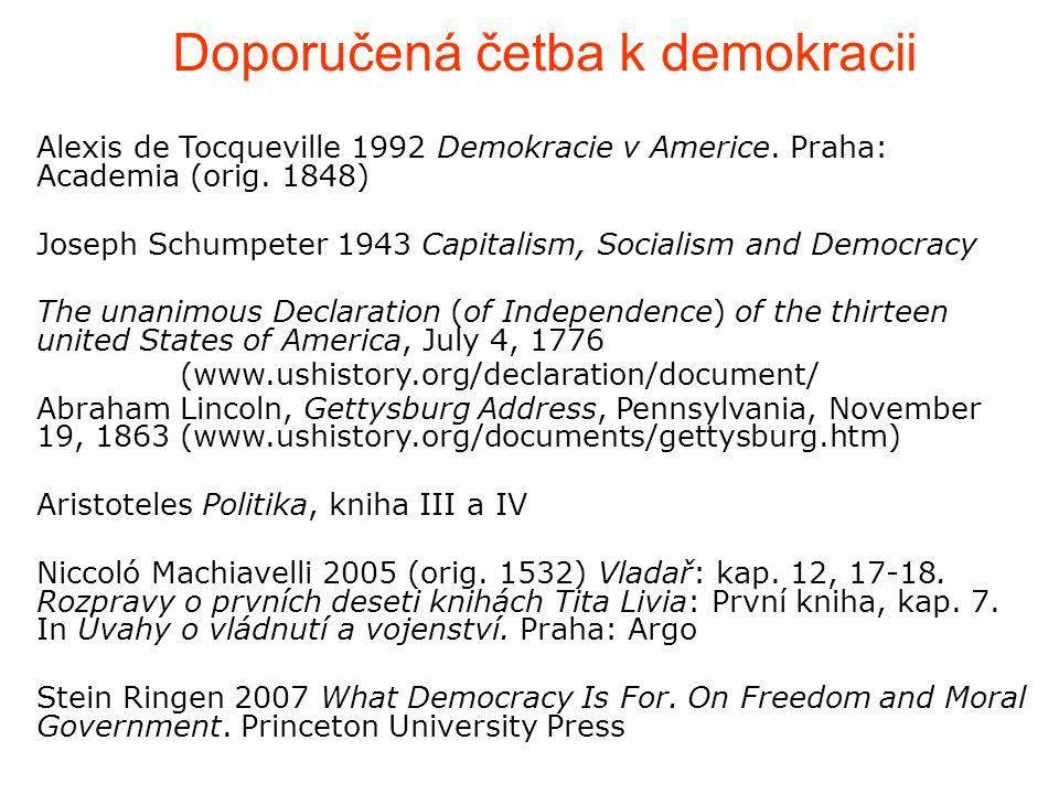Alexis de Tocqueville 1992 Demokracie v Americe. Praha: Academia (orig.