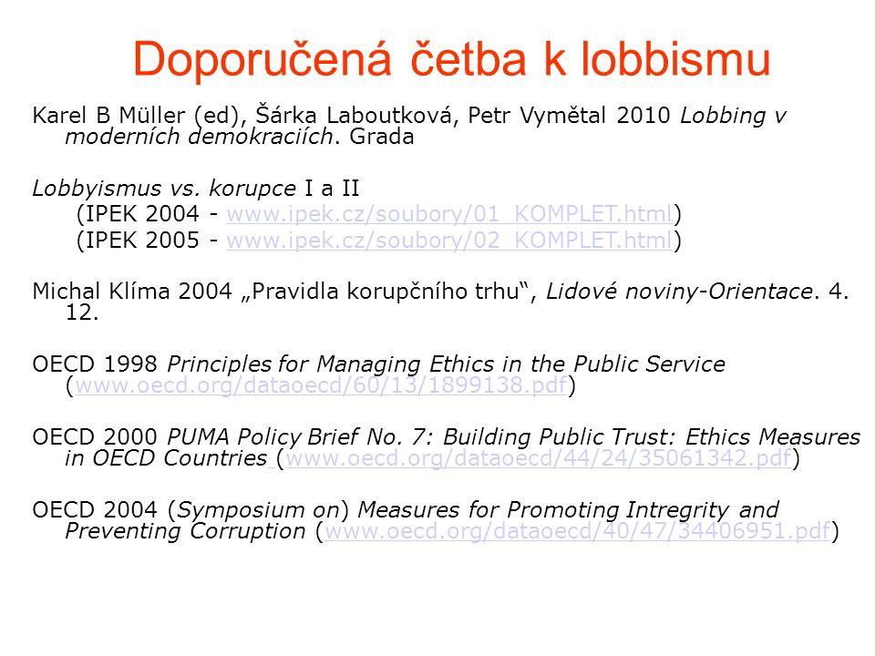 Doporučená četba k lobbismu Karel B Müller (ed), Šárka Laboutková, Petr Vymětal 2010 Lobbing v moderních demokraciích.