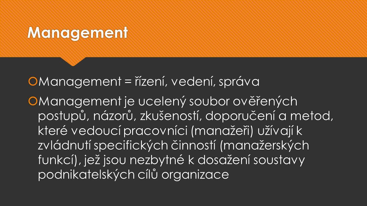 Management  Management = řízení, vedení, správa  Management je ucelený soubor ověřených postupů, názorů, zkušeností, doporučení a metod, které vedoucí pracovníci (manažeři) užívají k zvládnutí specifických činností (manažerských funkcí), jež jsou nezbytné k dosažení soustavy podnikatelských cílů organizace  Management = řízení, vedení, správa  Management je ucelený soubor ověřených postupů, názorů, zkušeností, doporučení a metod, které vedoucí pracovníci (manažeři) užívají k zvládnutí specifických činností (manažerských funkcí), jež jsou nezbytné k dosažení soustavy podnikatelských cílů organizace