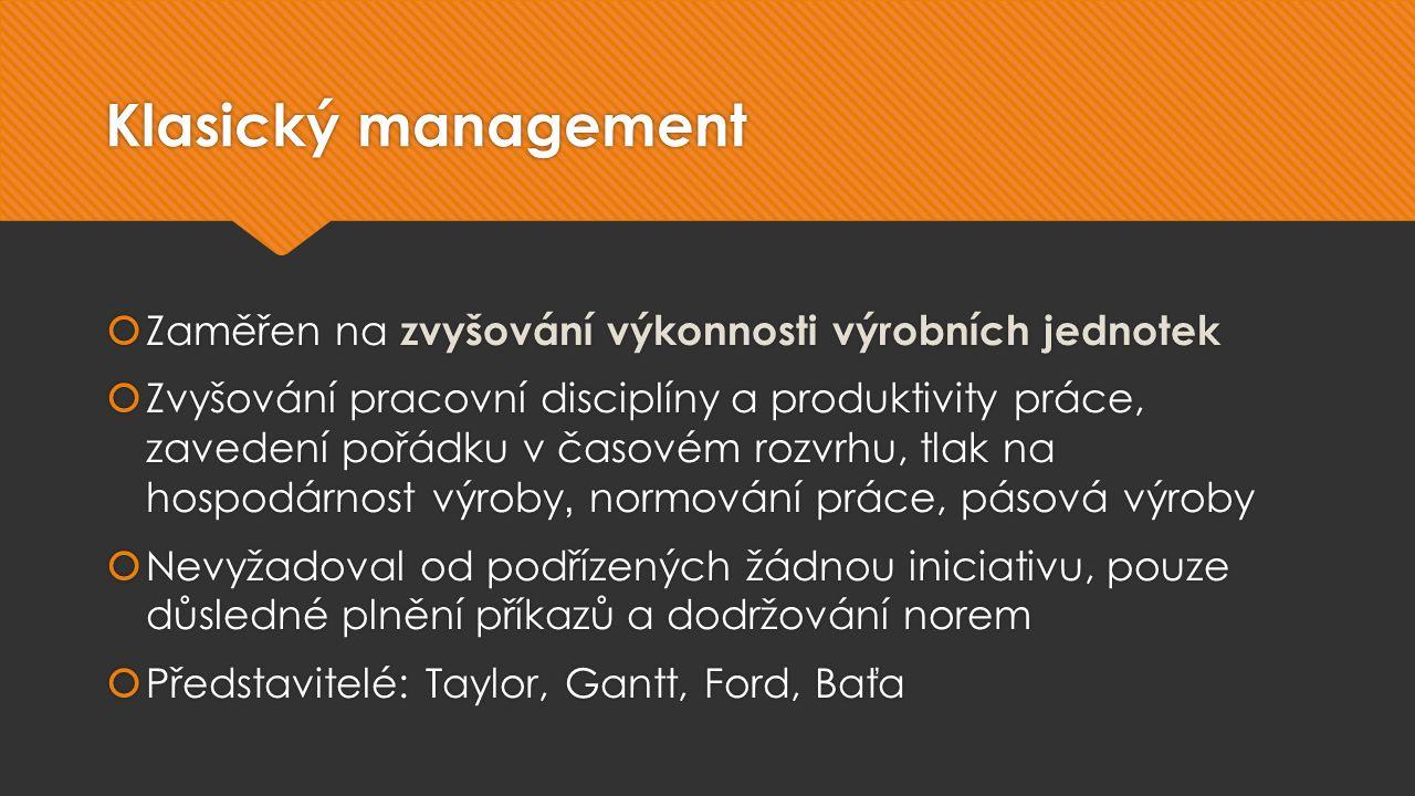 Klasický management  Zaměřen na zvyšování výkonnosti výrobních jednotek  Zvyšování pracovní disciplíny a produktivity práce, zavedení pořádku v časovém rozvrhu, tlak na hospodárnost výroby, normování práce, pásová výroby  Nevyžadoval od podřízených žádnou iniciativu, pouze důsledné plnění příkazů a dodržování norem  Představitelé: Taylor, Gantt, Ford, Baťa  Zaměřen na zvyšování výkonnosti výrobních jednotek  Zvyšování pracovní disciplíny a produktivity práce, zavedení pořádku v časovém rozvrhu, tlak na hospodárnost výroby, normování práce, pásová výroby  Nevyžadoval od podřízených žádnou iniciativu, pouze důsledné plnění příkazů a dodržování norem  Představitelé: Taylor, Gantt, Ford, Baťa