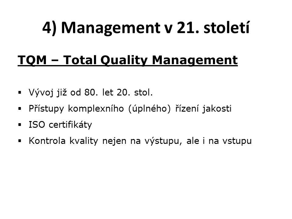 4) Management v 21. století TQM – Total Quality Management  Vývoj již od 80.