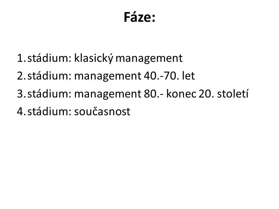 Fáze: 1.stádium: klasický management 2.stádium: management 40.-70.