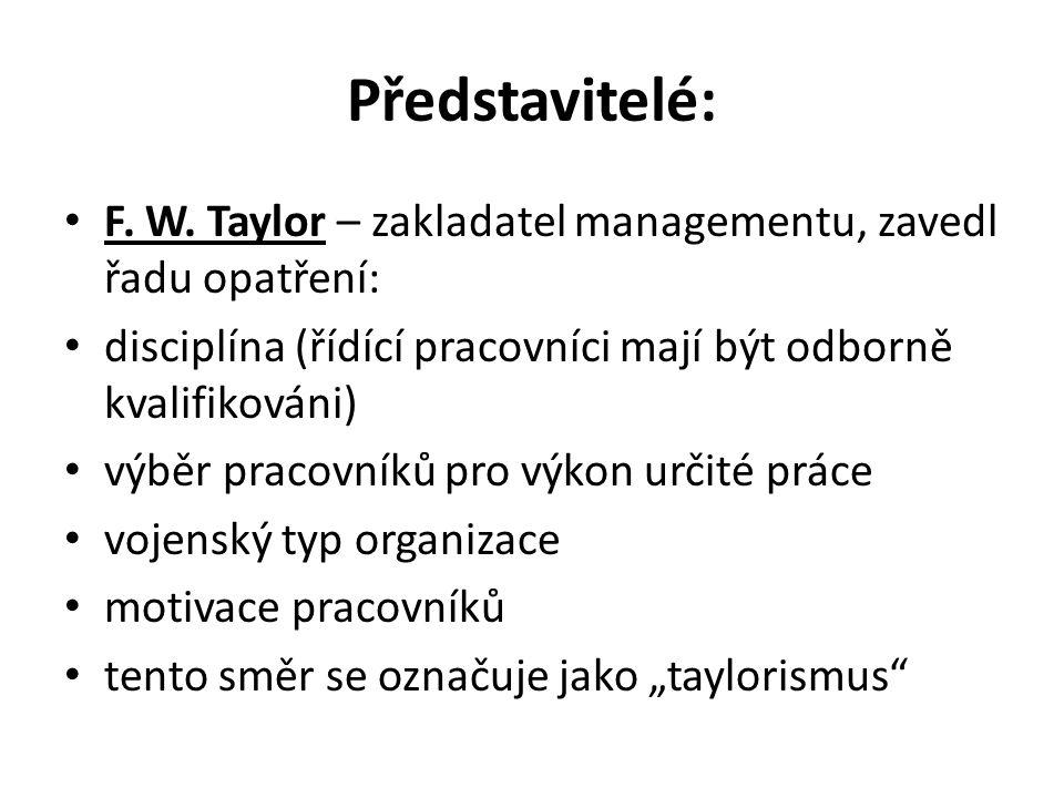 Představitelé: F. W.