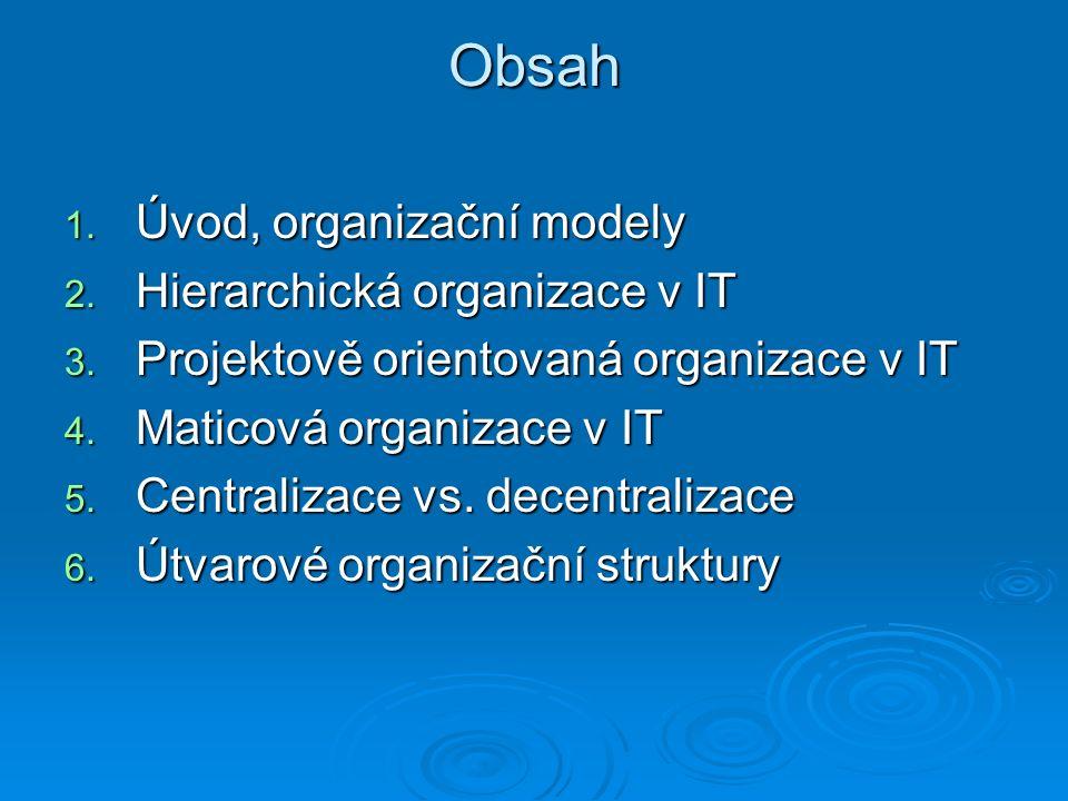 Obsah 1. Úvod, organizační modely 2. Hierarchická organizace v IT 3.