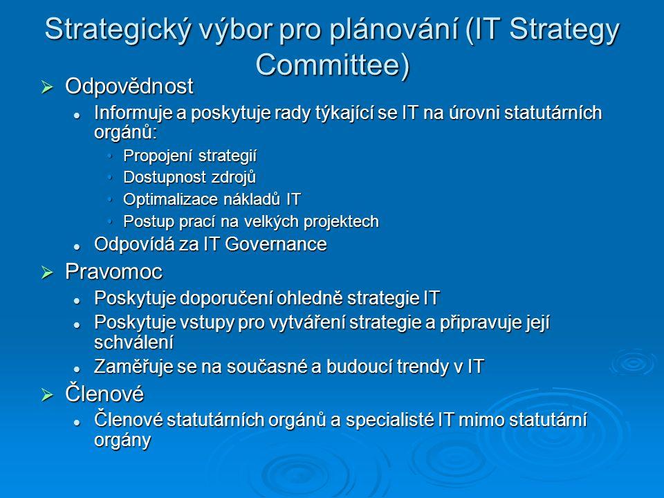 Strategický výbor pro plánování (IT Strategy Committee)  Odpovědnost Informuje a poskytuje rady týkající se IT na úrovni statutárních orgánů: Informuje a poskytuje rady týkající se IT na úrovni statutárních orgánů: Propojení strategiíPropojení strategií Dostupnost zdrojůDostupnost zdrojů Optimalizace nákladů ITOptimalizace nákladů IT Postup prací na velkých projektechPostup prací na velkých projektech Odpovídá za IT Governance Odpovídá za IT Governance  Pravomoc Poskytuje doporučení ohledně strategie IT Poskytuje doporučení ohledně strategie IT Poskytuje vstupy pro vytváření strategie a připravuje její schválení Poskytuje vstupy pro vytváření strategie a připravuje její schválení Zaměřuje se na současné a budoucí trendy v IT Zaměřuje se na současné a budoucí trendy v IT  Členové Členové statutárních orgánů a specialisté IT mimo statutární orgány Členové statutárních orgánů a specialisté IT mimo statutární orgány