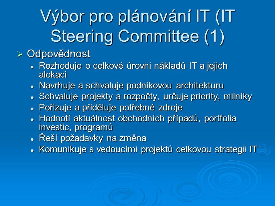 Výbor pro plánování IT (IT Steering Committee (1)  Odpovědnost Rozhoduje o celkové úrovni nákladů IT a jejich alokaci Rozhoduje o celkové úrovni nákladů IT a jejich alokaci Navrhuje a schvaluje podnikovou architekturu Navrhuje a schvaluje podnikovou architekturu Schvaluje projekty a rozpočty, určuje priority, milníky Schvaluje projekty a rozpočty, určuje priority, milníky Pořizuje a přiděluje potřebné zdroje Pořizuje a přiděluje potřebné zdroje Hodnotí aktuálnost obchodních případů, portfolia investic, programů Hodnotí aktuálnost obchodních případů, portfolia investic, programů Řeší požadavky na změna Řeší požadavky na změna Komunikuje s vedoucími projektů celkovou strategii IT Komunikuje s vedoucími projektů celkovou strategii IT
