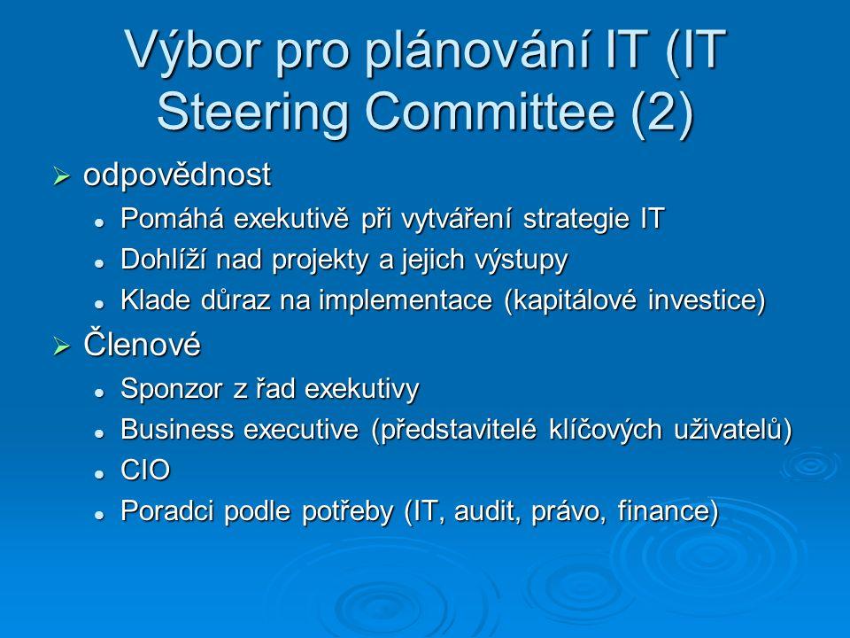 Výbor pro plánování IT (IT Steering Committee (2)  odpovědnost Pomáhá exekutivě při vytváření strategie IT Pomáhá exekutivě při vytváření strategie IT Dohlíží nad projekty a jejich výstupy Dohlíží nad projekty a jejich výstupy Klade důraz na implementace (kapitálové investice) Klade důraz na implementace (kapitálové investice)  Členové Sponzor z řad exekutivy Sponzor z řad exekutivy Business executive (představitelé klíčových uživatelů) Business executive (představitelé klíčových uživatelů) CIO CIO Poradci podle potřeby (IT, audit, právo, finance) Poradci podle potřeby (IT, audit, právo, finance)