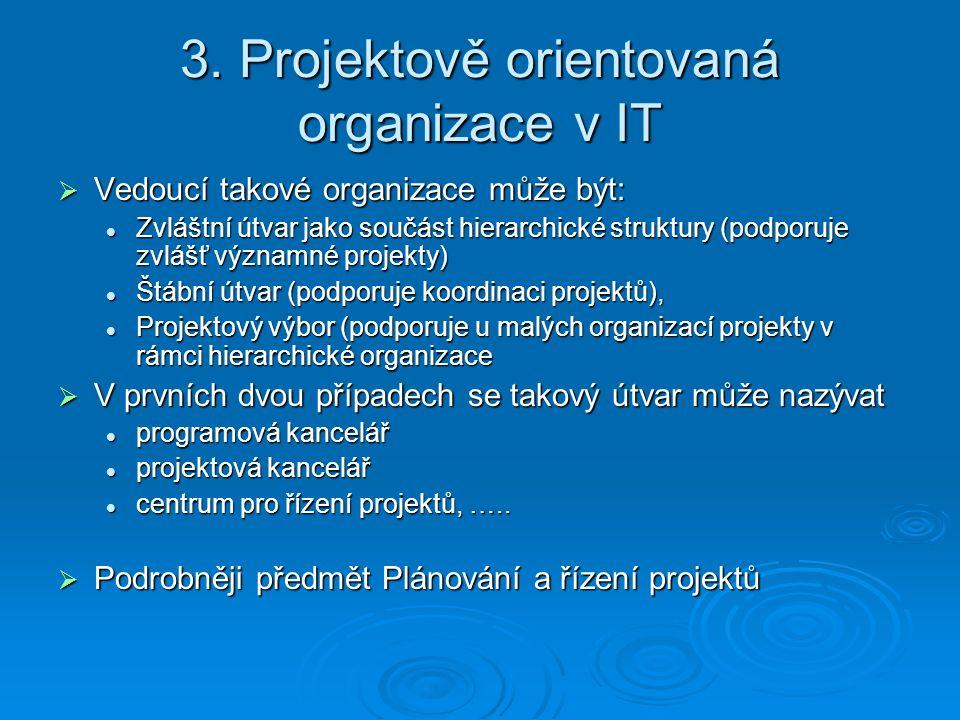3. Projektově orientovaná organizace v IT  Vedoucí takové organizace může být: Zvláštní útvar jako součást hierarchické struktury (podporuje zvlášť v