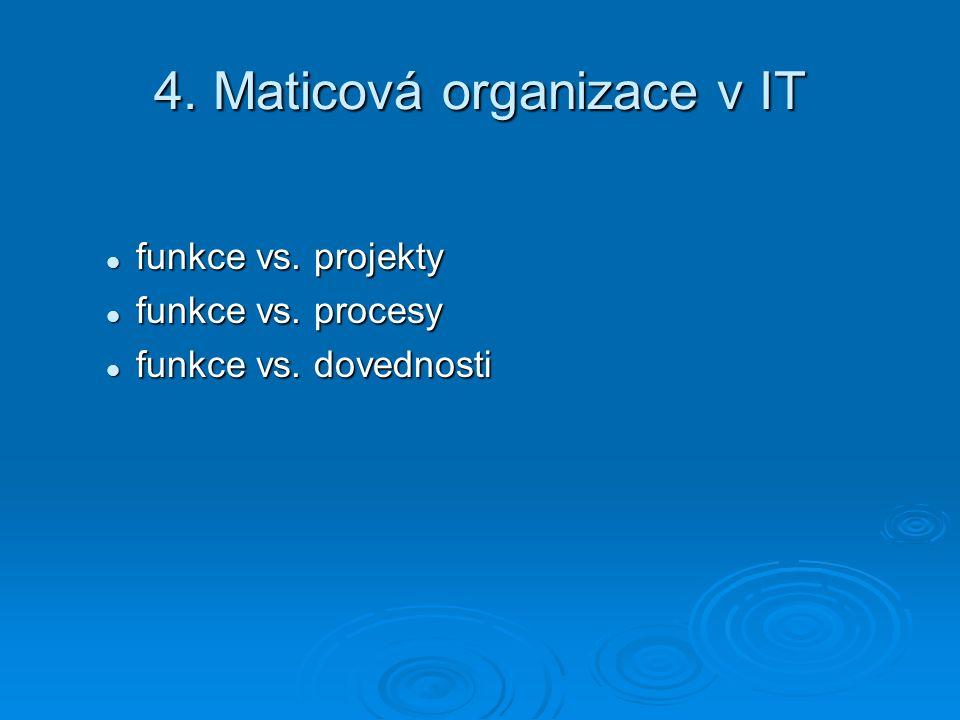 4. Maticová organizace v IT funkce vs. projekty funkce vs.