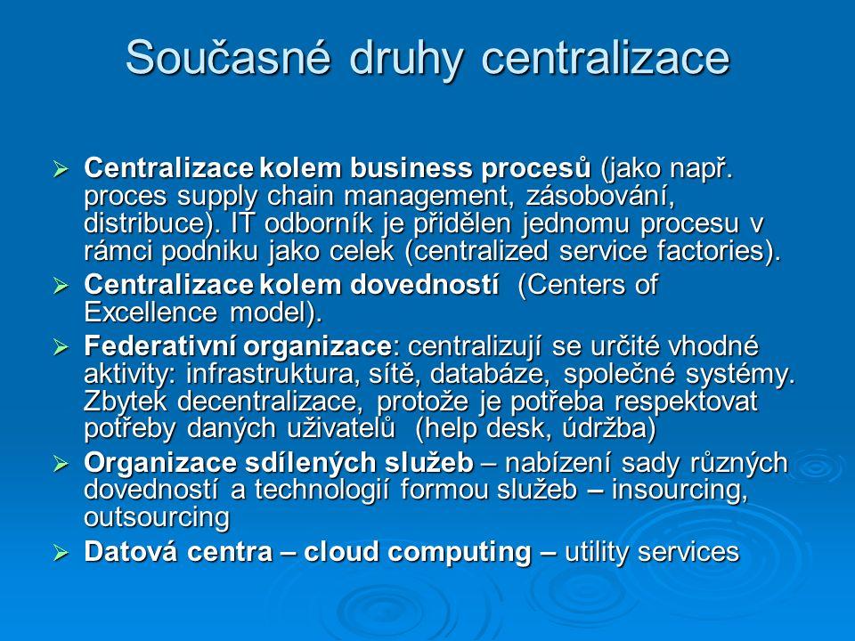 Současné druhy centralizace  Centralizace kolem business procesů (jako např.