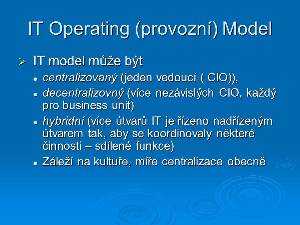 IT Operating (provozní) Model  IT model může být centralizovaný (jeden vedoucí ( CIO)), centralizovaný (jeden vedoucí ( CIO)), decentralizovný (více nezávislých CIO, každý pro business unit) decentralizovný (více nezávislých CIO, každý pro business unit) hybridní (více útvarů IT je řízeno nadřízeným útvarem tak, aby se koordinovaly některé činnosti – sdílené funkce) hybridní (více útvarů IT je řízeno nadřízeným útvarem tak, aby se koordinovaly některé činnosti – sdílené funkce) Záleží na kultuře, míře centralizace obecně Záleží na kultuře, míře centralizace obecně