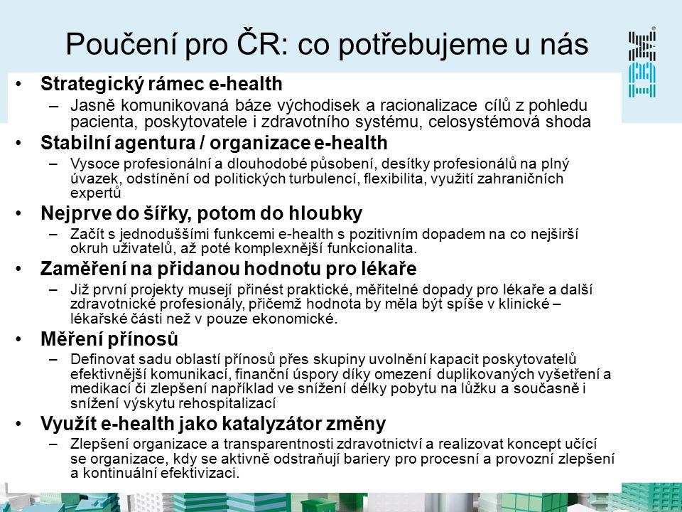 Poučení pro ČR: co potřebujeme u nás Strategický rámec e-health –Jasně komunikovaná báze východisek a racionalizace cílů z pohledu pacienta, poskytovatele i zdravotního systému, celosystémová shoda Stabilní agentura / organizace e-health –Vysoce profesionální a dlouhodobé působení, desítky profesionálů na plný úvazek, odstínění od politických turbulencí, flexibilita, využití zahraničních expertů Nejprve do šířky, potom do hloubky –Začít s jednoduššími funkcemi e-health s pozitivním dopadem na co nejširší okruh uživatelů, až poté komplexnější funkcionalita.