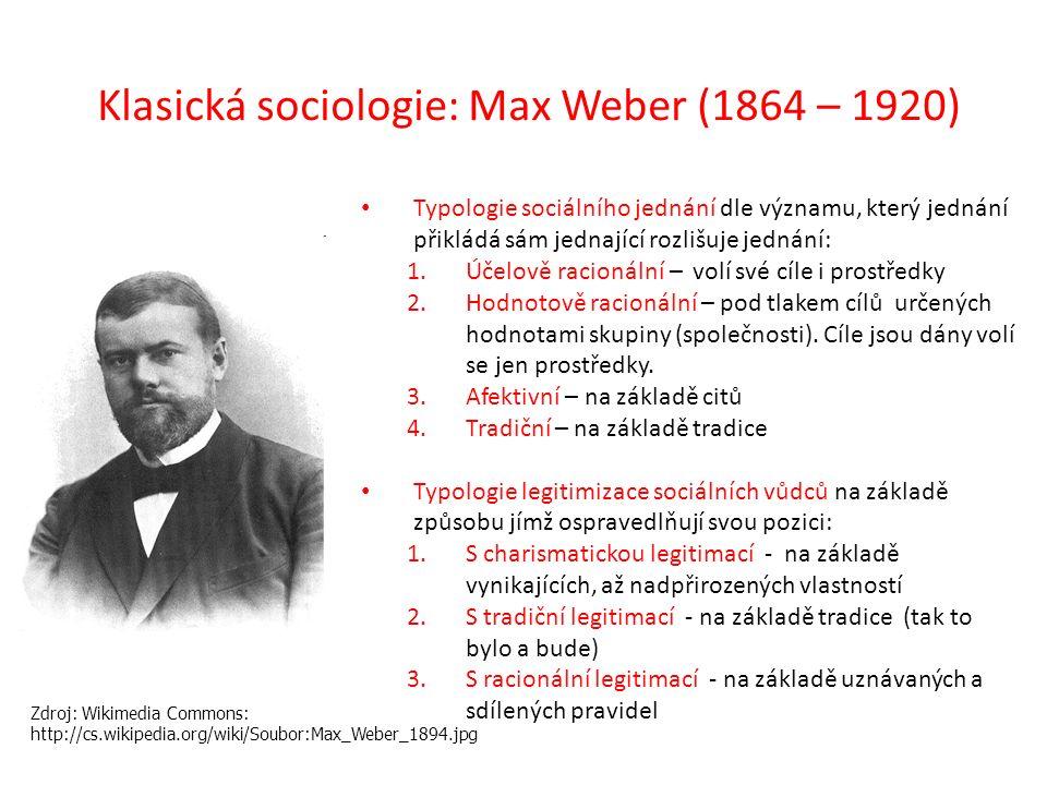 Typologie sociálního jednání dle významu, který jednání přikládá sám jednající rozlišuje jednání: 1.Účelově racionální – volí své cíle i prostředky 2.