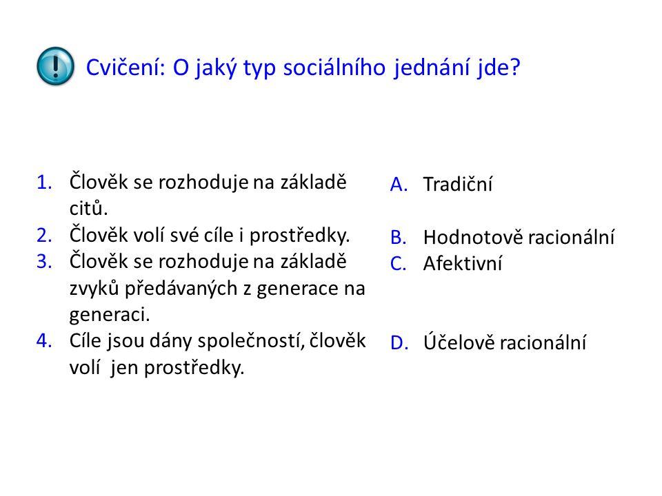 Cvičení: O jaký typ sociálního jednání jde? 1.Člověk se rozhoduje na základě citů. 2.Člověk volí své cíle i prostředky. 3.Člověk se rozhoduje na zákla