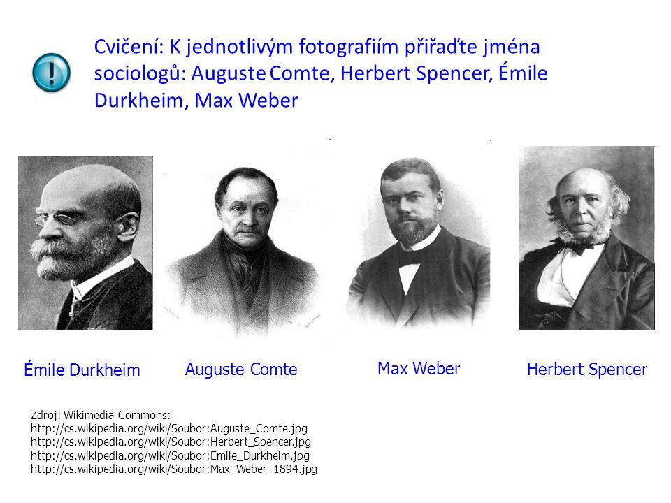 Cvičení: K jednotlivým fotografiím přiřaďte jména sociologů: Auguste Comte, Herbert Spencer, Émile Durkheim, Max Weber Auguste ComteHerbert Spencer Ém