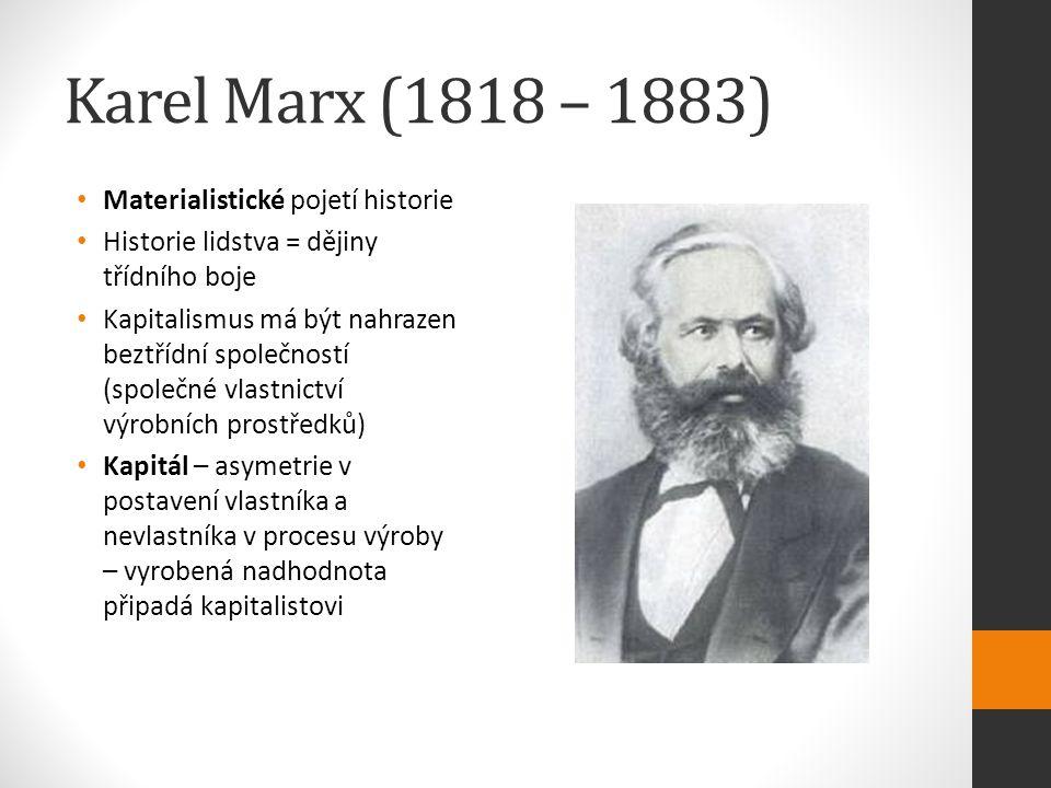 Karel Marx (1818 – 1883) Materialistické pojetí historie Historie lidstva = dějiny třídního boje Kapitalismus má být nahrazen beztřídní společností (společné vlastnictví výrobních prostředků) Kapitál – asymetrie v postavení vlastníka a nevlastníka v procesu výroby – vyrobená nadhodnota připadá kapitalistovi