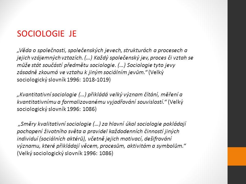 """SOCIOLOGIE JE """"Věda o společnosti, společenských jevech, strukturách a procesech a jejich vzájemných vztazích."""