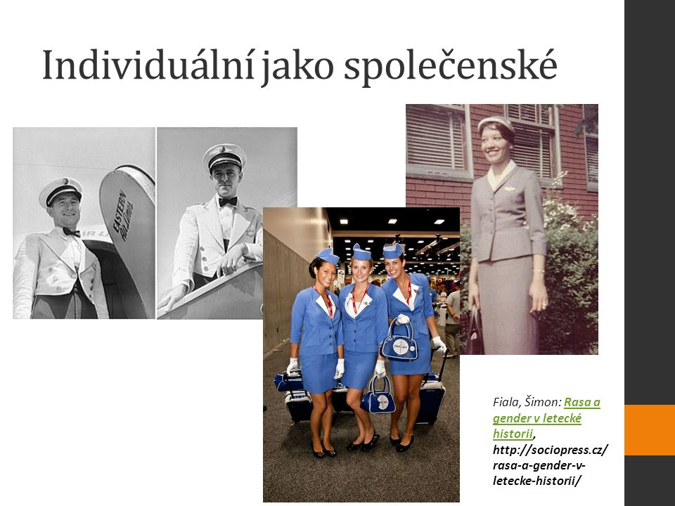 Individuální jako společenské Fiala, Šimon: Rasa a gender v letecké historii, http://sociopress.cz/ rasa-a-gender-v- letecke-historii/Rasa a gender v letecké historii