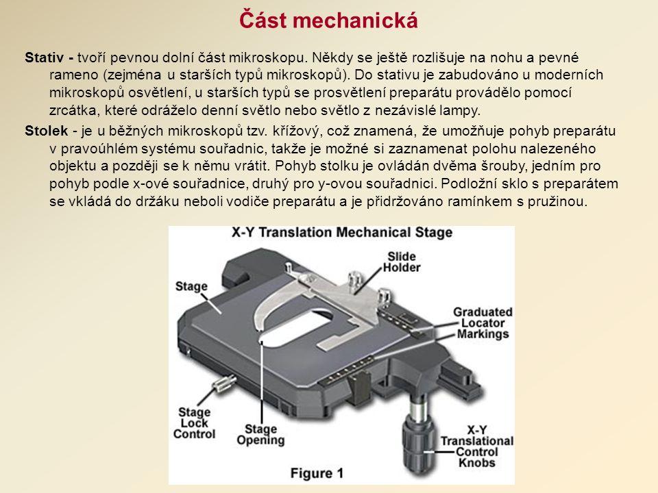 Část mechanická Stativ - tvoří pevnou dolní část mikroskopu.