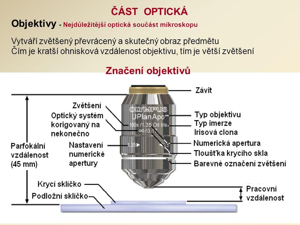 ČÁST OPTICKÁ Značení objektivů Vytváří zvětšený převrácený a skutečný obraz předmětu Čím je kratší ohnisková vzdálenost objektivu, tím je větší zvětšení Objektivy - Nejdůležitější optická součást mikroskopu