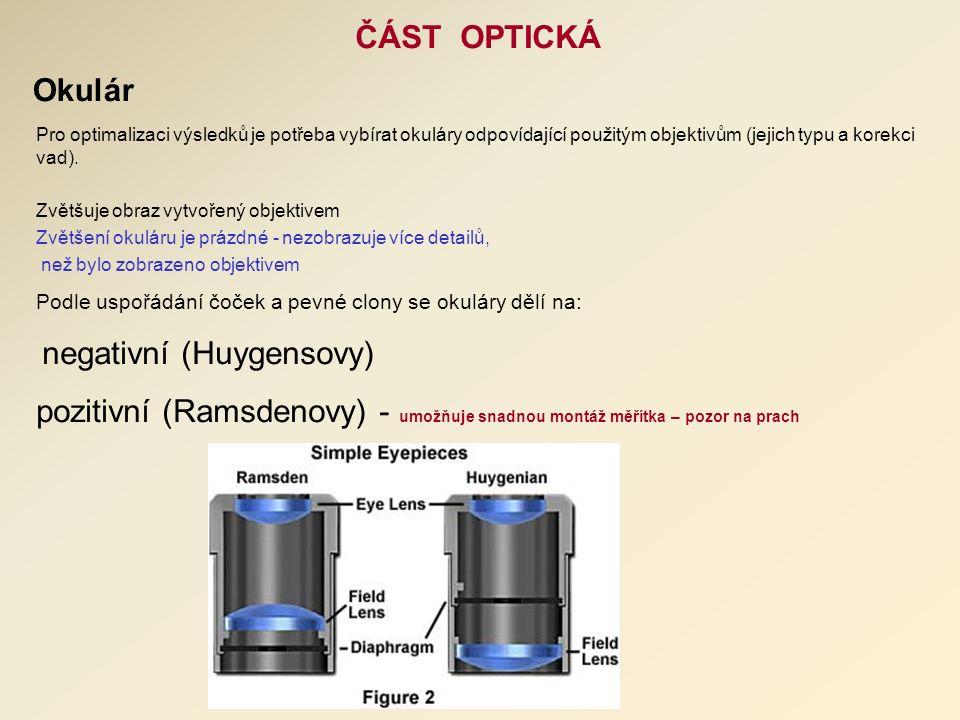 ČÁST OPTICKÁ Okulár Pro optimalizaci výsledků je potřeba vybírat okuláry odpovídající použitým objektivům (jejich typu a korekci vad).