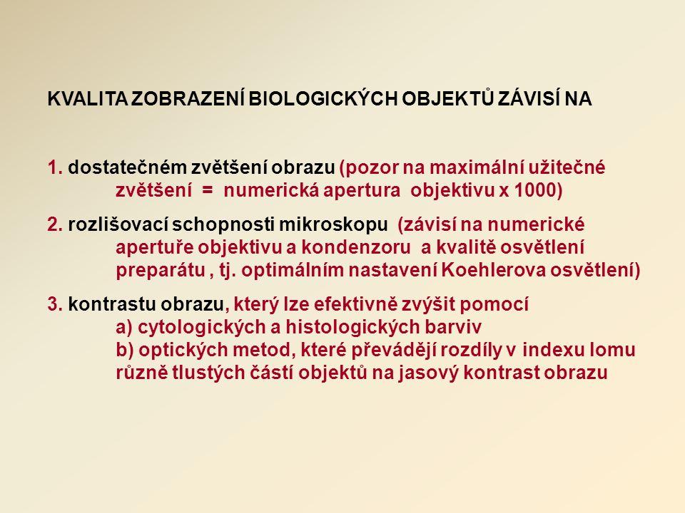 KVALITA ZOBRAZENÍ BIOLOGICKÝCH OBJEKTŮ ZÁVISÍ NA 1.