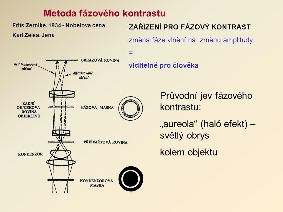 """Metoda fázového kontrastu Frits Zernike, 1934 - Nobelova cena Karl Zeiss, Jena ZAŘÍZENÍ PRO FÁZOVÝ KONTRAST změna fáze vlnění na změnu amplitudy = viditelné pro člověka Průvodní jev fázového kontrastu: """"aureola (haló efekt) – světlý obrys kolem objektu"""