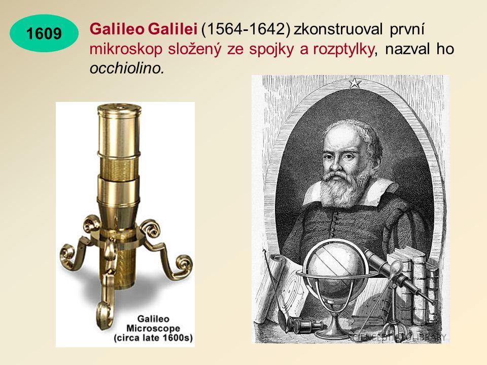 Galileo Galilei (1564-1642) zkonstruoval první mikroskop složený ze spojky a rozptylky, nazval ho occhiolino.