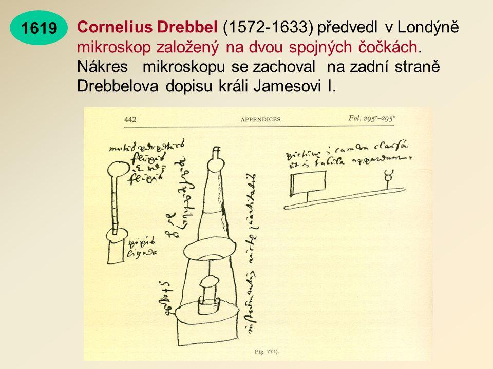 Cornelius Drebbel (1572-1633) předvedl v Londýně mikroskop založený na dvou spojných čočkách.